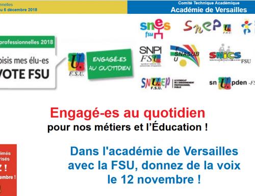 Dans l'académie de Versailles avec la FSU, donnez de la voix le 12 novembre !
