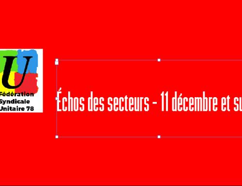 Échos des secteurs – février 2020