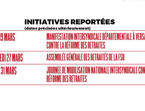 AG DES RETRAITÉS – MANIFESTATIONS PRÉVUES EN MARS REPORTÉES …